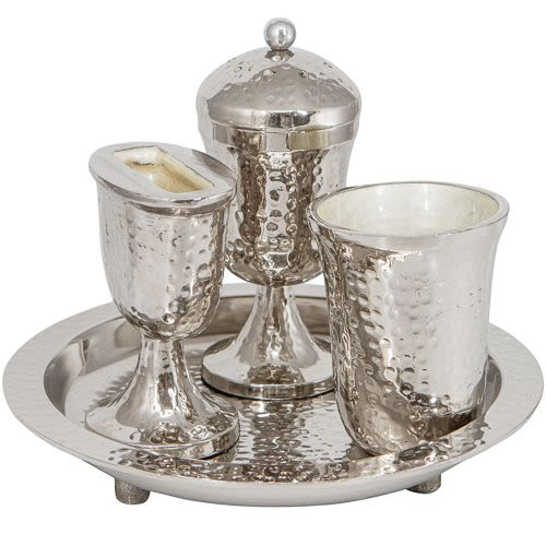 Aluminum Havdalah Set with Kiddush Cup, Spice Cup, and Candle Holder