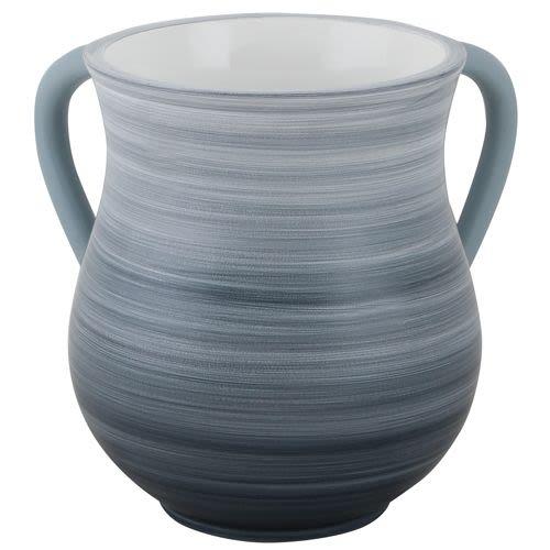 Netilat Jadaim Wasserbehälter aus blauem und weißem Polyurethan