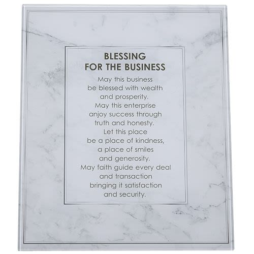 "Hanging Glass Picture with ""Blessing for Your Business"""