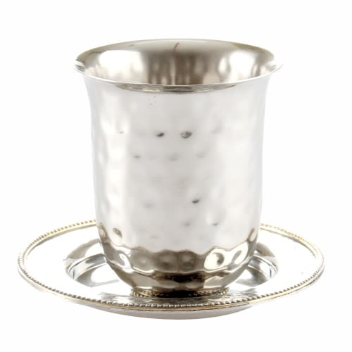 Stainless Steel Kiddush Cup (No Stem) with Saucer