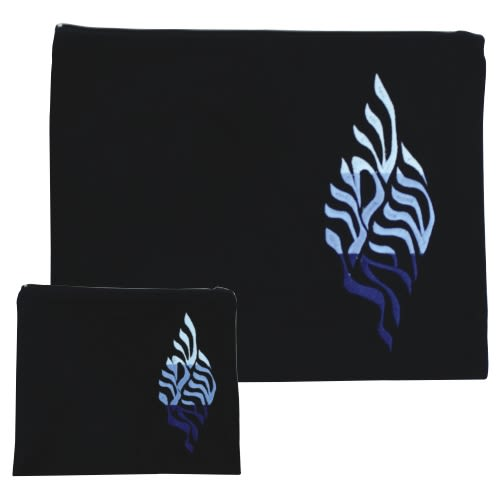 "Tallit and Tefillin Set - Dark Blue Velvet with ""Shema Yisrael"" Embroidery"