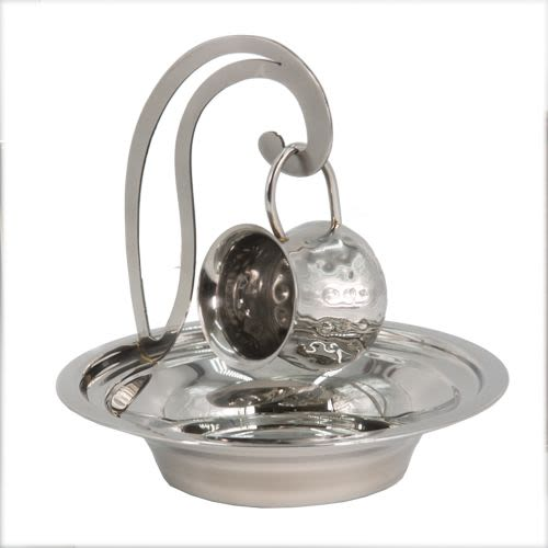 Set of Small Hand Washing Cup and Dish (מיים אחרונים) - Stainless Steel