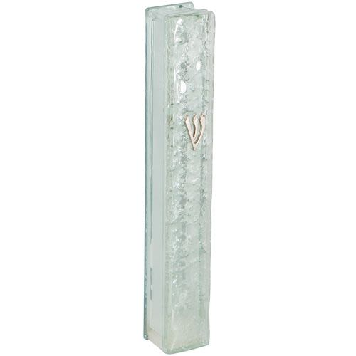 Glass Mezuzah with Textured Surface - Silver Tones
