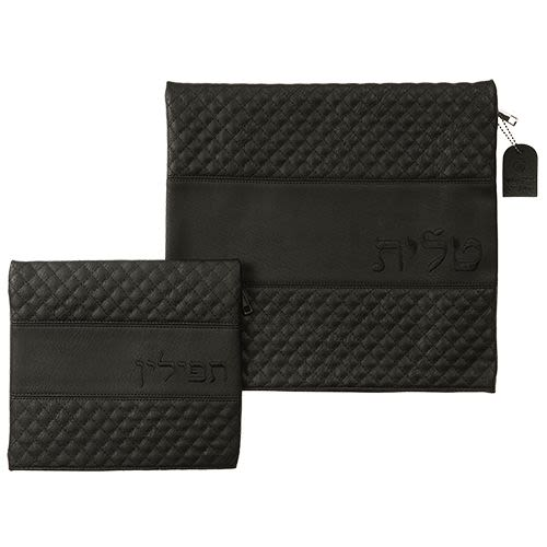 Tallit and Tefillin Set - Black Imitation Leather with Embroidery