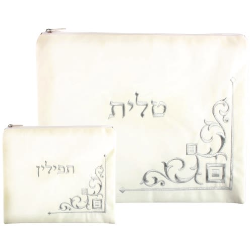 Tallit and Tefillin Set - White Velvet with Embroidery