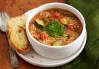 Italian Vegetable Soup with Cheese Bread