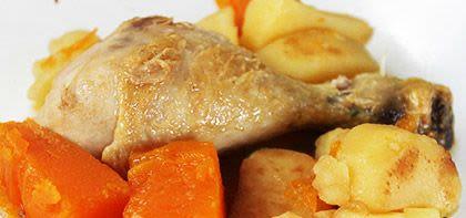 תבשיל שוקי עוף בדלעת ותפוחי אדמה