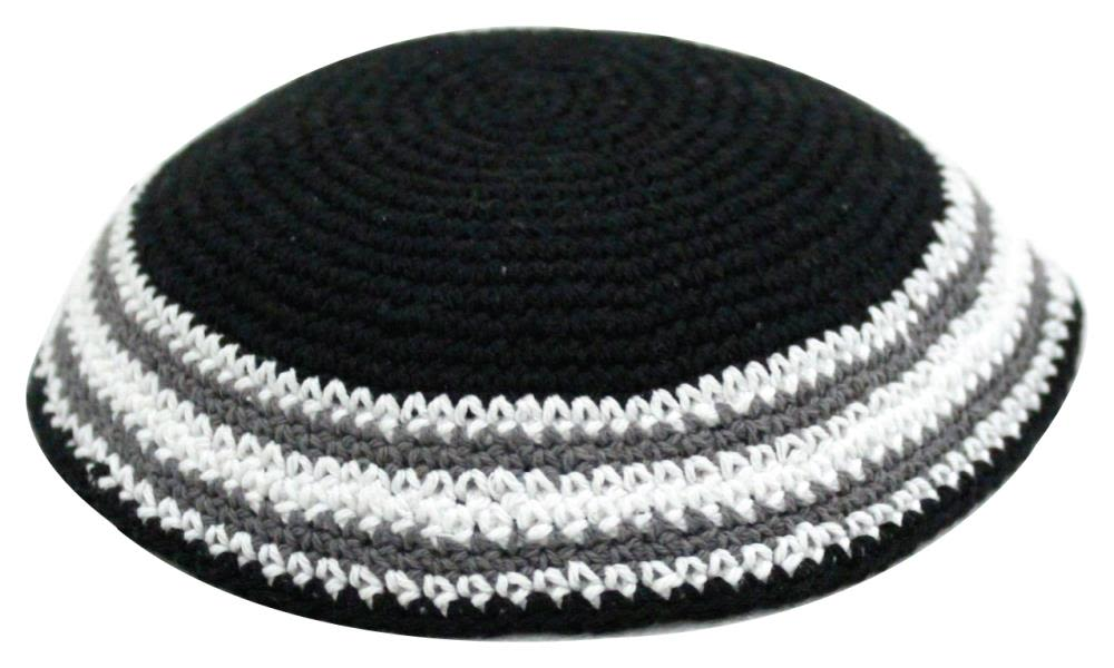 Black Knitted Kippah with Gray, White, and Black Rows