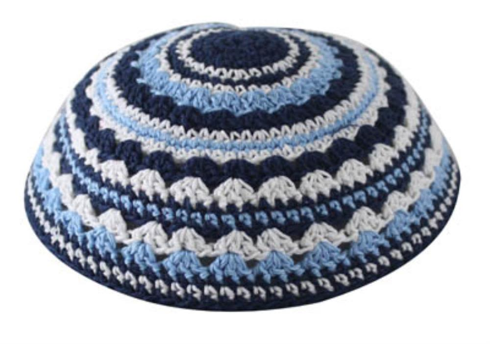 Knitted Kippah in Deep Blue, Light Blue, and White