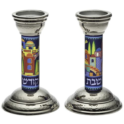 Aluminum Shabbat Candlesticks with Imprinted Jerusalem Skyline