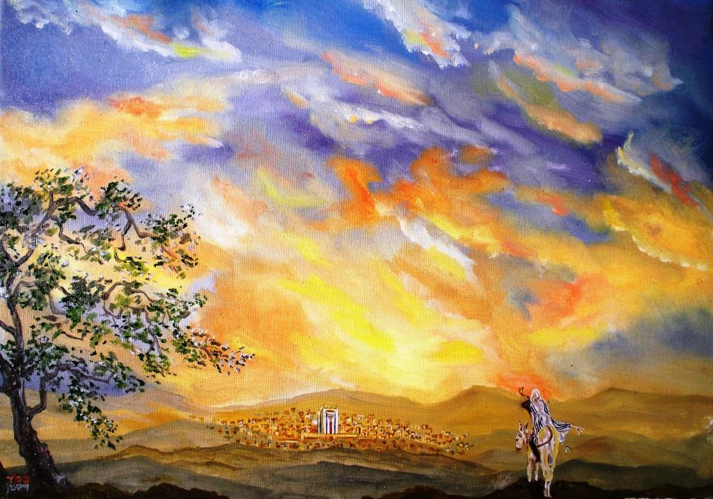 Oil Painting of Moshiach - by Yehoshua Wiseman. 35x50 cm.