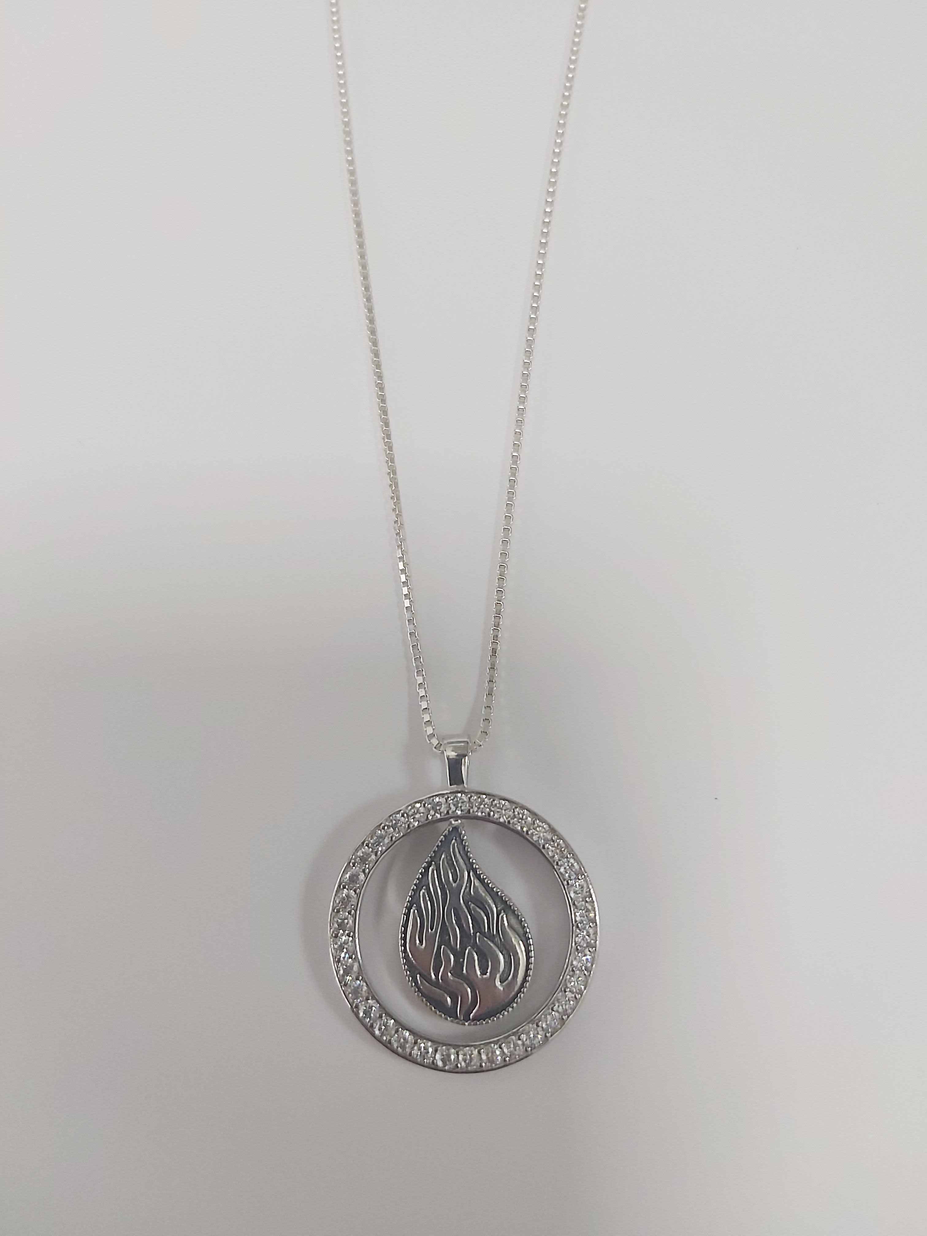 "Necklace with Chain and Pure Silver ""My Fire"" Pendant"