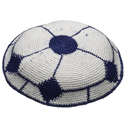 Knitted Kippah in Deep Blue and White Colors
