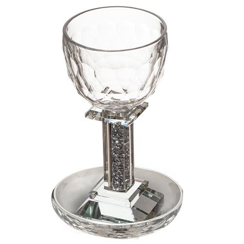 "Crystal Kiddush Cup with Crushed ""Silver"" Shards in Stem"