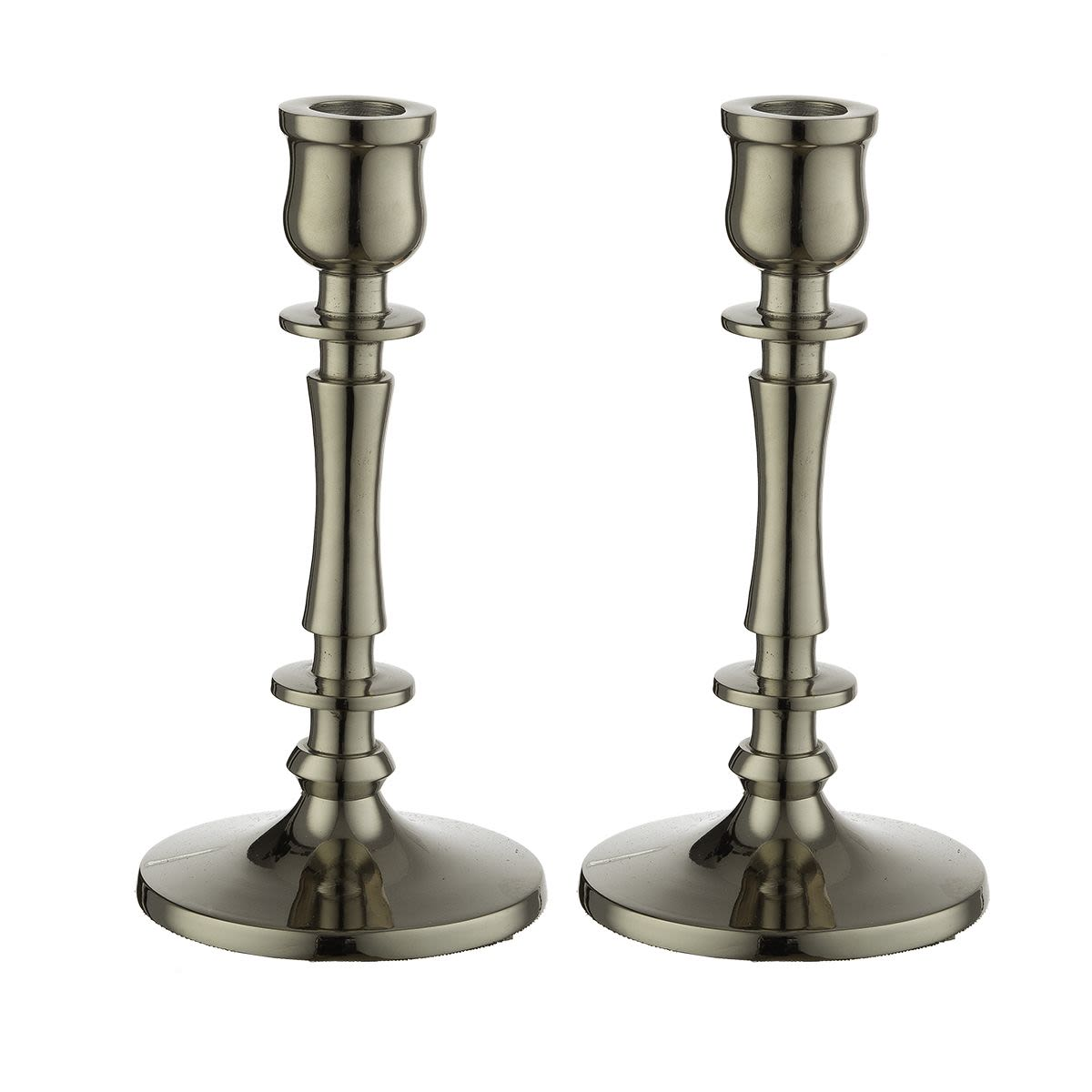 Pair of Nickel Candlesticks