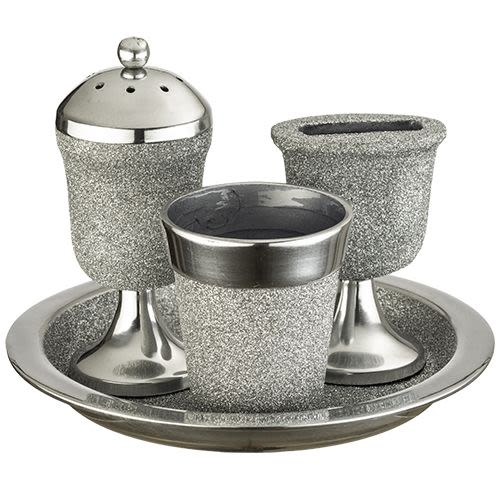 Havdalah Set from Aluminum - Kiddush Cup, Candle Holder, Spice Holder