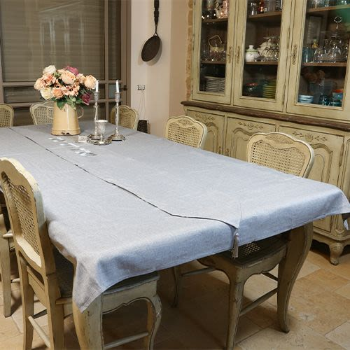 "Light Gray Linen Tablecloth with Runner ""Shabbat and Yom Tov"""