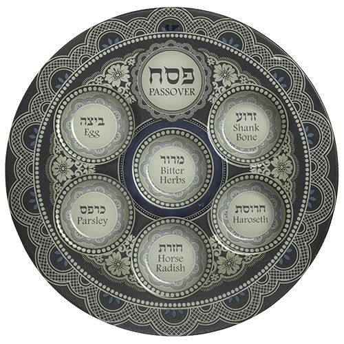 Passover Plate in Decorative Blue Glass