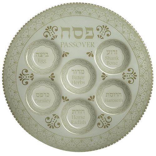 Passover Plate in Decorative White Glass