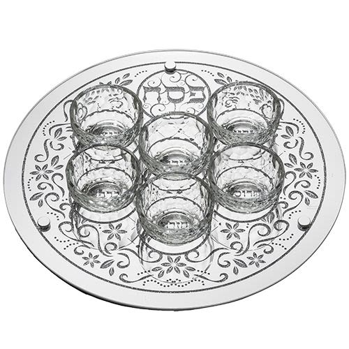 Passover Plate with Six Dishes in Decorative Glass