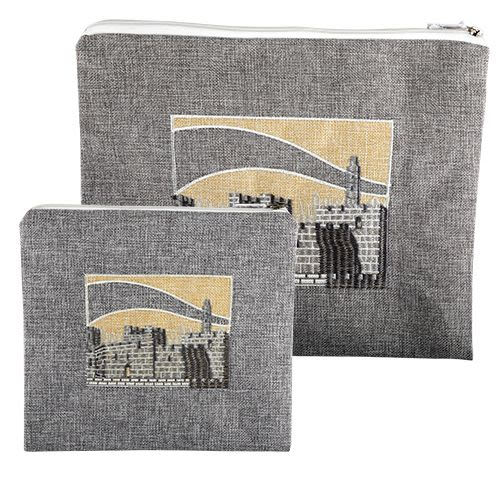 Tallit and Tefillin Set - Linen Fabric in Cream and Gray Tones