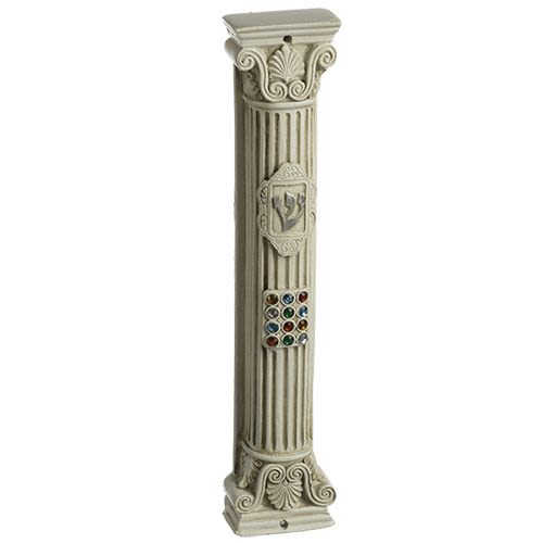 Mezuzah from Polyresin with Imitation Choshen (Breastplate of the Kohen Gadol)