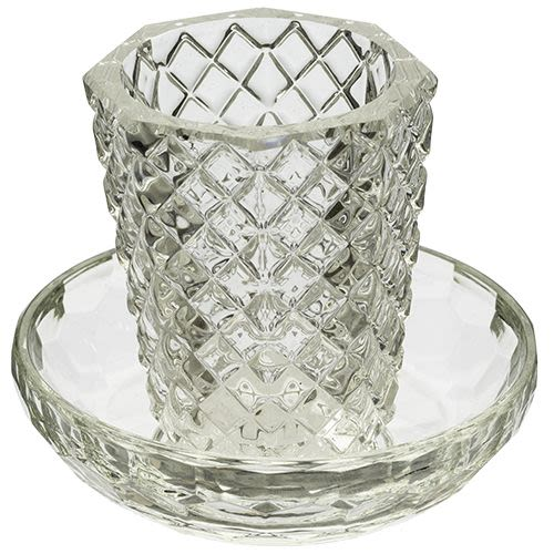 Crystal Kiddush Cup and Saucer