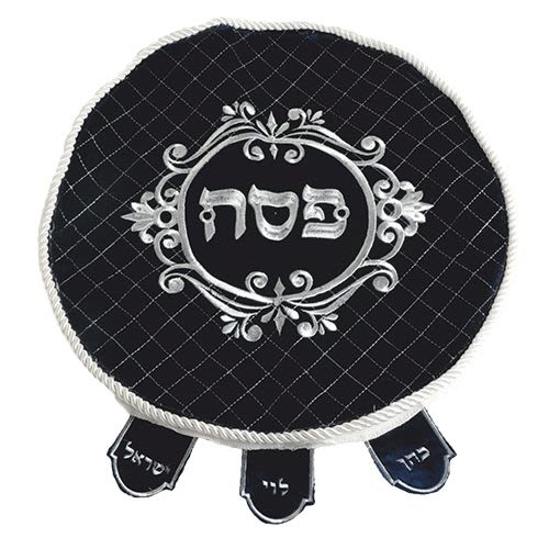 Passover Matzah Cover in German Blue Velvet with Colored Embroidery