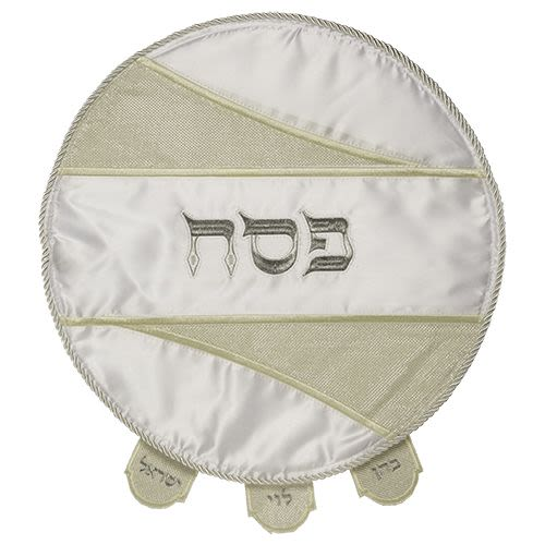 Passover Matzah Cover in White Satin with Special Design