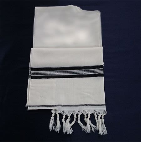 Tallit - White with Black Stripe, Size 5