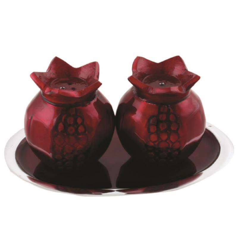 Pomagranate Salt and Pepper Shakers with Saucer