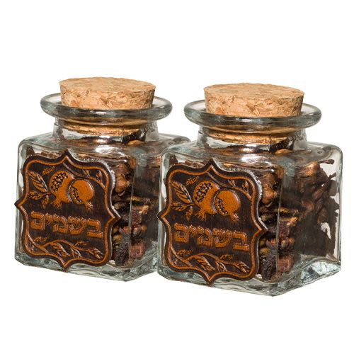Havdalah Spices in Glass Containers with Imitation Leather Facing