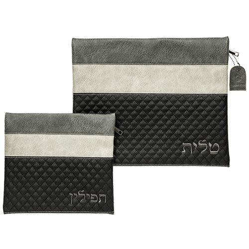 Комплект футляров для талита и тфилин из искусственной кожи с вышивкой