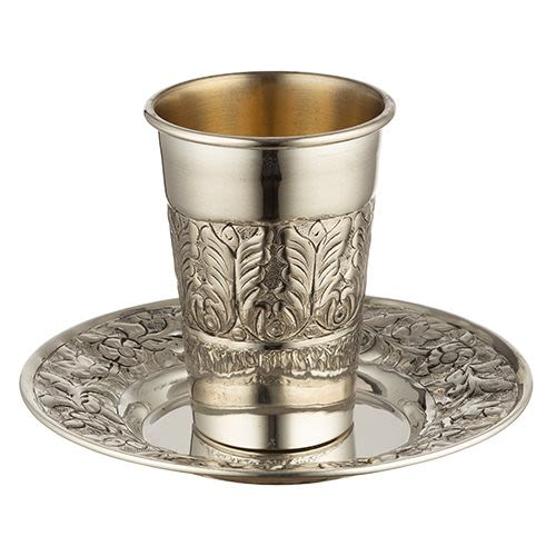 Kiddush Cup with Saucer - Silver-Plated with Pure Silver 925