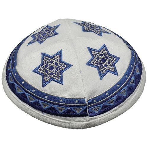 Kippah in White Ultra-Seude with Decorative Star of David