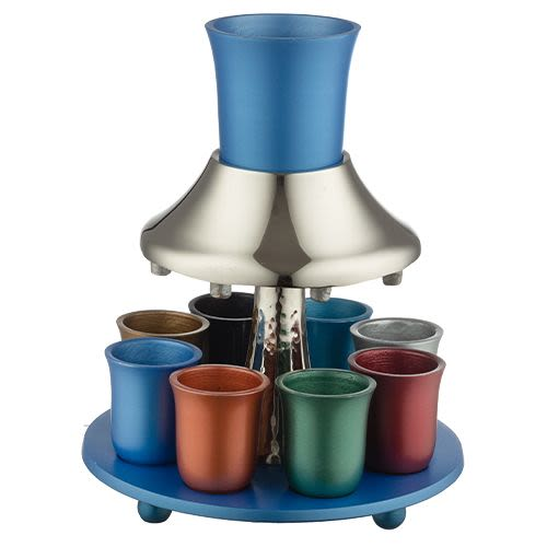 Aluminum Kiddush Cup with 8 Small Cups in Various Colors