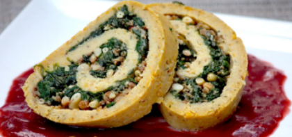 Chickpea Roulade with Spinach & Pine Nut Stuffing