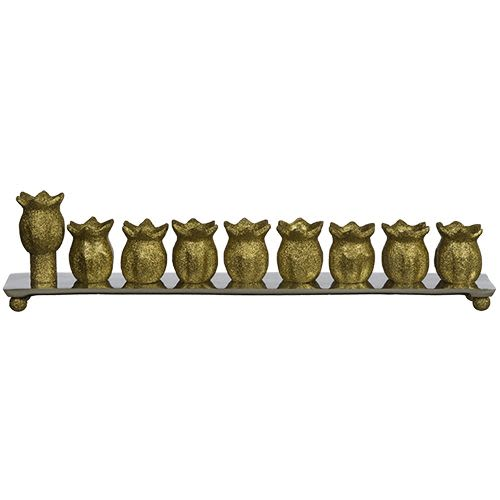 Chanukah Menorah with Aluminum Base in Glittered, Gold Color