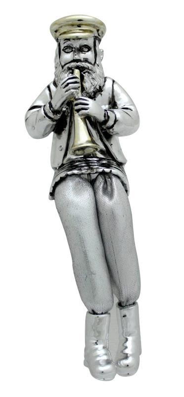 Miniature Clarinet Player in Silver Color with Cloth Legs