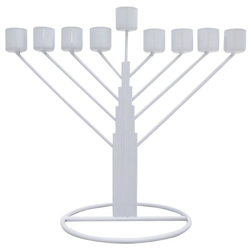 Chanukah Menorah - White Tin