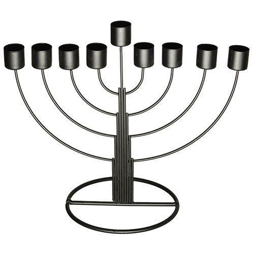 Chanukah Menorah - Semi-Circle, Silver-Colored Tin